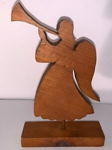 Vintage Wood Handmade Hand Carved Angel With Trumpet Figure Decor