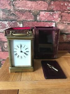 Antique French 1910 Brass Glass Bevelled Travelling Carriage Mantle Clock