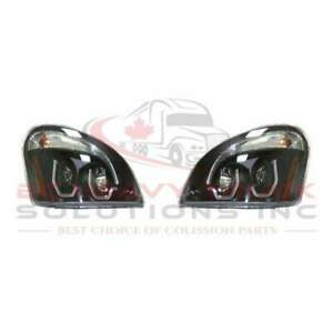 Freightliner Cascadia Performance Headlight 2008 2017 Black W Proyector Pair