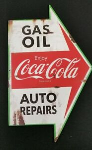 Enjoy Ice Cold Coca Cola Service Station Auto Repairs Metal Arrow Motor Oil Gas