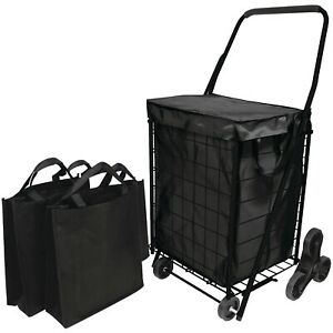 3 wheel Shopping Stair Climb Cart With Liner 2 Bags Comfort grip Foam Handle