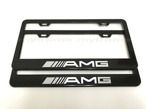 2pcs Amgstyle Black Metal License Plate Frame With Screw Caps