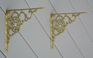 Architectural Solid Brass Shelf Wall Brackets Ornate Motif