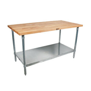 John Boos Tns08 Wood Top Work Table W Undershelf 48 W X 30 D