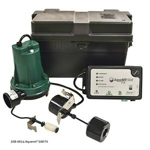 Zoeller 508 0014 Aquanot Fit Battery Backup Sump Pump System W Wifi 12v new