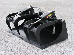 60 Dual Cylinder Smooth Bucket Grapple Attachment Fits Skid Steer Quick Attach