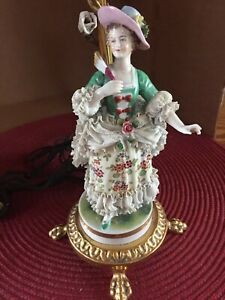 Antique German Or France Dresden Volkstedt Porcelain Lamp Figurine