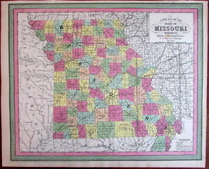 Missouri State Map Showing Canals Railroads 1850 Cowperthwait Scarce Issue
