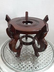 Chinese Japanese Oriental Wood Pot Vase Planter Urn Stand Display Stand