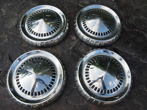 Vintage 1960s Mercury ford Dog Dish Poverty Hubcaps Set Of 4
