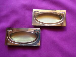 2 Vintage Dresser Brass Finish Drawer Pulls Handles Kbc Rectangle Recessed