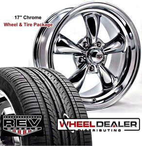 17x7 17x8 Chrome Rev Classic 100 Wheels Tires For Ford Maverick 5 lug 1973 1974