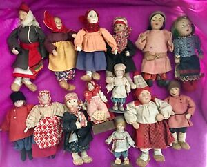 A Group 14 Of Antique Vintage Russian Regional Costumed Dolls 1930 S 1950s