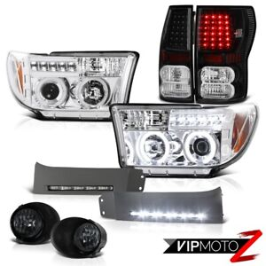 For 07 10 Tundra Ccfl Halo Headlamps Brightest Led Tail Light Smoke Smd Fog Drl