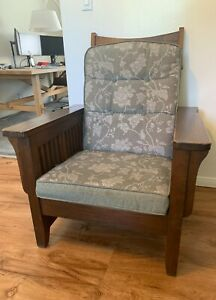 Antique Mission Style Armchair Solid Oak Wood