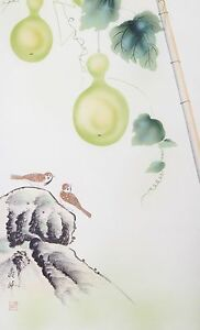 Hanging Scroll Box Green Gourds Vines Bamboo Sparrows Birds Asian Japan China