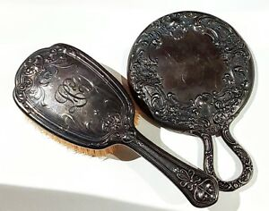 Antique Sterling Silver Mirror And Brush Weighs 150 Grams Victorian Vanity Set