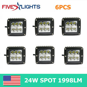 6x 24w 3inch Spot Led Cube Pods Work Light Driving Offroad Truck Ute Trailer
