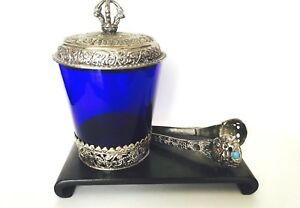 Antique Chinese Sterling Silver Ice Bucket Cobalt Blue Glass W Dragon Tongs