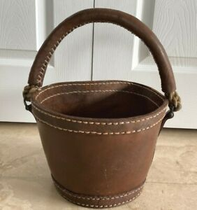 Fabulous Vintage Fireplace Leather And Rope Fire Bucket