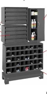 Metal 40 Hole Storage Bolt Bin Utility Cabinet Compartment W 2 Sliding Racks