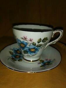 Vintage Delphine Bone China Made In England Blue Flowers Tea Cup And Saucer