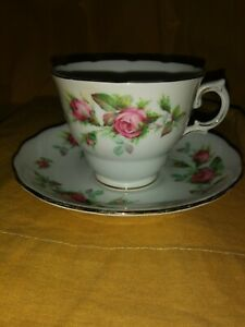 Royal Vale Bone China Tea Cup And Saucer With Pink Roses Gold Trim