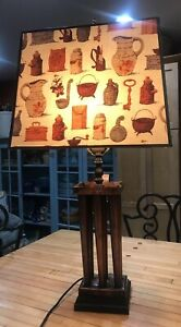 Vintage Early American Wrought Copper Candle Mold Table Lamp Colonial Shade