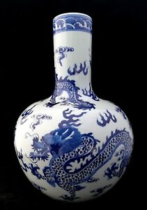 Estate Old House Chinese Antique Blue And White Porcelain Dragon Vase With Mark