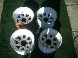 Vintage Made In Usa 1970s 16 x10 6 Lug Jackman Style 8 Spoke Chevy Steel Wheels