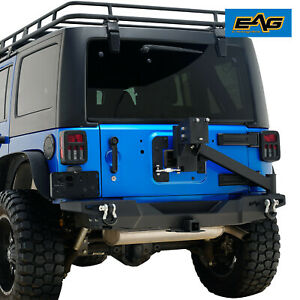 Eag Rear Bumper With Tire Carrier 2 Hitch Receiver For 07 18 Jeep Wrangler Jk