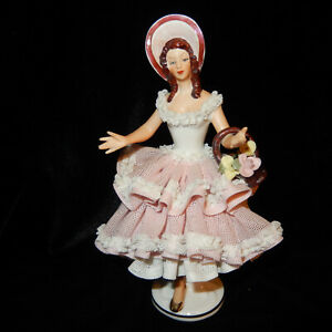 Capodimonte Dresden Lace Figurine 7 Lady Basket Flowers Bonnet Pink Dress Vint