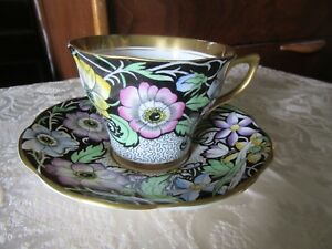 Vtg Rosina Germany Bone China Tea Cup Saucer Colorful Flowers Gold