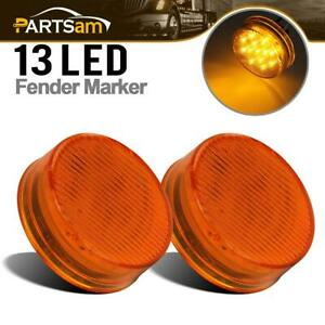 Pair 2 5 Round Side Clearance Marker Light 13led Amber For Truck Trailer