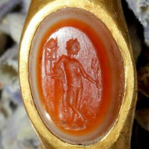 Ancient Roman 1st 3rd Century Ad Gold Banded Carnelian Intaglio Ring