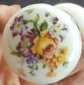 Vintage Small White Porcelain Door Knob Beautiful Over Glaze Floral Pattern