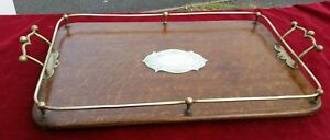 Antique Wooden Serving Tray Butler Drinks With Epns Gallery Large 21 L X 14 W