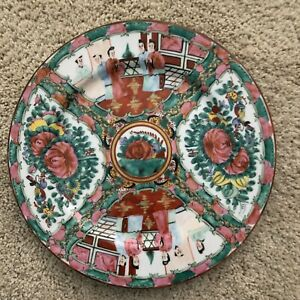 Antique 19th C Chinese Rose Medallion Porcelain Painted Decorative Plate