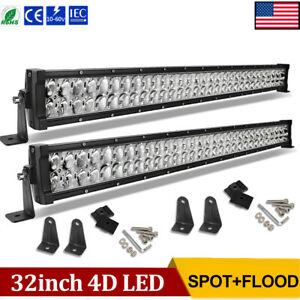 2x 32inch Led Light Bars Combo 840w Offroad For Jeep Truck 4x4wd Atv Suv 30 34