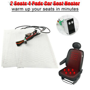 Car Seat Carbon Fiber Heated Cushion Seat Heater Pad Digital 5 Gear Switch Kit
