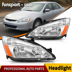 For 2003 2007 Honda Accord Pair Chrome Housing Amber Corner Headlight lamp Set