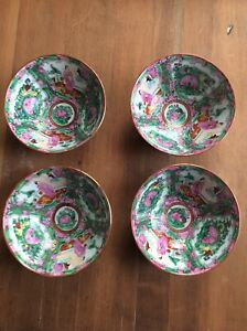 4 Vintage Medallion Rice Bowls Chinese Hand Painted Porcelain 5
