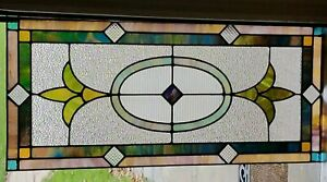 Gorgeous Antique Original Stained Glass Window Coal Town Pa Ribbed Centerpiece