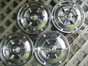 1961 61 Buick Electra Invicta Spinner Hubcaps Wheel Covers Center Caps Vintage