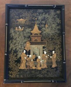 Antique Chinese Black Gold Lacquer Framed Panel Court Figures Pagoda