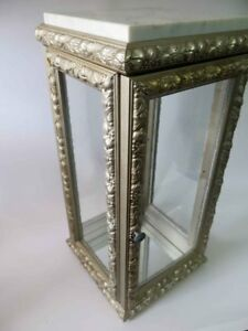 Vintage Vitrine Display Case Cabinet Glass Wood Marble Top Made In Italy 2