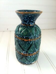 Mid Century Italian Blue Turquiose Glazed Carved Pottery Vase Made In Italy