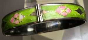 Antique Sterling Silver Enamel Signed Chinese Woman S Bracelet