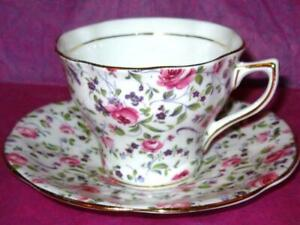 Rosina Pink Roses Violet Chintz Floral Bone China Tea Cup And Saucer