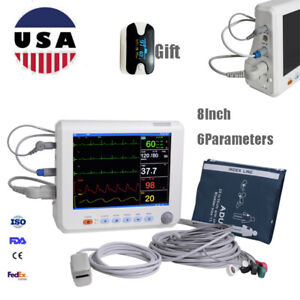 Medical 8 vital Signs Patient Monitor Ecg nibp spo2 resp temp Hospital Monitor